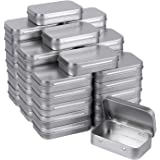 Tamicy Metal Rectangular Empty Hinged Tins - Pack of 40 Silver Mini Portable Box Containers Small Storage Kit & Home Organize