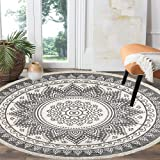 HEBE 4 Ft Cotton Rugs Round Washable Chic Bohemian Mandala Hand Woven Round Rugs with Tassels Indoor Throw Area Rug for Livin