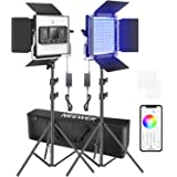 Neewer 2 Packs 480 RGB Led Light with APP Control, Photography Video Lighting Kit with Stands and Bag, 480 SMD LEDs CRI95/320
