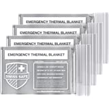 Swiss Safe Emergency Mylar Thermal Blankets (4-Pack) + Bonus Signature Gold Foil Space Blanket: Designed for NASA, Outdoors,