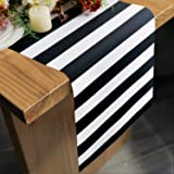 Letjolt Polyester Table Runner Black and White Striped Pattern for Dinner Parties Supplies Birthday Party Wedding Decorations