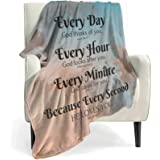 QETXVI Bible Verse Blanket with Inspirational Thoughts and Prayers- Religious Throw Blanket Soft Lightweight Cozy Plush Warm