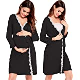 Sexqero Women's Robe Maternity Sleepwear Labor Delivery Nursing Nightgown Pregnancy Gown