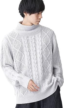 (モノマート) MONO-MART オーバーサイズ アラン編み タートルネック ケーブル ニット セーター メンズ