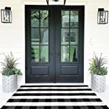 Buffalo Plaid Rugs Cotton Black and White Check Rug(3'x5') Hand-Woven Indoor/Outdoor Area Rug for Welcome Door Mat, Front Por