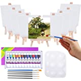 Mini Canvas and Easel, Cridoz 47 Pieces Mini Canvas Painting Set Includes 4x4 Inches Primed Canvas, Mini Easel, Acrylic Paint