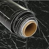 TAKARAFUNE 壁紙シール 大理石 インテリア リフォーム 多用途 ウォールステッカー 石目調カッティングシート リメイクシート ブラック 貼ってはがせる 61cm*5M
