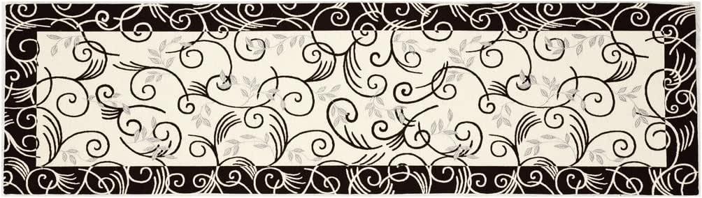 ヨーロピアンイタリア製ゴブラン織りロングマット ウィンド 65×180#1515 ブラック