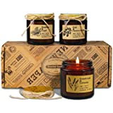 Scented Candles, Gift Set of 3 Rustic Apothecary Amber Jar Soy Candles - Natural Organic Soy Wax Candles for Aromatherapy, St