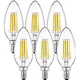 チラツキが少ない シャンデリア電球 E12 口金 40W形相当 電球色 ホタルスイッチ対応 led 電球 e12 シャンデリア球 密閉形器具対応(6個入)