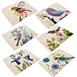 6 In Set Cotton Linen Placemats - Bird Pattern Table Mats Heat-resistant Non-slip Insulation Table Runner for Kitchen Dining