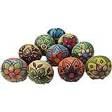 Set of 10 Pieces Hand Painted Ceramic Knobs Cabinet Drawer Pull Vintage Look Flower Ceramic Knobs Door Handle Cabinet Drawer