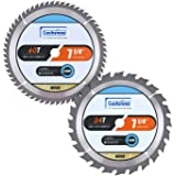 Luckyway 2-Pack 7-1/4 Inch 24T&60T with 5/8 Inch Diamond Arbor TCT Circular Saw Blade for Cutting Wood