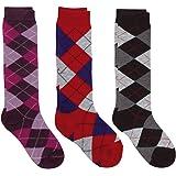 Country Kids Girls' Fun Plaid Argyle Knee Hi Socks, Pack of 3