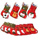 Aitey Mini Christmas Stockings, Set of 12 Xmas 3D Character Plush Santa, Snowman, Reindeer, Bear, Bulk Personalized Stocking