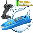 SZJJX RC Boat, Remote Control Boats for Pools and Lakes, 2.4 GHz Speed Boat with Long Battery Life, 10KM/H Racing Boat Toys E