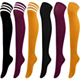 Aneco 6 Pairs Over Knee Thigh Socks Knee-High Warm Stocking Women Boot Sock Leg Warmer High Socks for Daily Wear, Cosplay