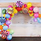 GIHOO Sweet Candy Balloon Garland Arch Kit, 90pcs 18inch Round Lollipop Mylar Foil Balloons, 5/10inch Muliticolor Latex Ballo
