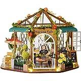 CUTEBEE Dollhouse Miniature with Furniture, DIY Wooden Dollhouse Kit Plus Dust Proof, 1:24 Scale Creative Room Idea (Garden C