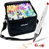 120-Color Alcohol Art Markers Set, Ohuhu Dual Tip, Brush & Chisel, Sketch Marker, Alcohol-Based Brush Markers Bonus 1 Blender