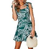 BMJL Women's Zipped Floral Sleeveless Slim Backless A Line Slip Ruffle Tie Short Mini Dress
