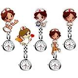 Women Ladies Nurse Watch Cute Cartoon Clip-on Lapel Hanging Pendant Doctor Clinic Staff Tunic Stethoscope Badge Quartz Fob Wa