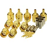 Eightwood 10pcs SMA Male Crimp RF Connector Gold-Plating for RG316 RG174 Cable