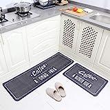 "Carvapet 2 Piece Non-Slip Kitchen Mat Rubber Backing Doormat Runner Rug Set, Coffee Design (Grey 15""x47""+15""x23"")"