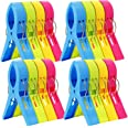 ESFUN 16 Pack Beach Towel Clips Chair Clips Towel Holder for Pool Chairs on Cruise-Jumbo SizePlastic Clothes Pegs Hanging Cli
