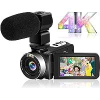 ビデオカメラ4K YouTubeカメラ Wi-Fi機能 HD 48.0MP 30FPS 夜視機能 3インチタッチスクリー…