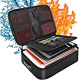 Fireproof&Waterproof Document Organizer Bag,Home Office Travel Safe Bag with Lock,Multi-Layer Portable Filing Storage with Ha