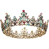SWEETV Jeweled Baroque Queen Crown - Rhinestone Wedding Crowns and Tiaras for Women, Costume Party Hair Accessories with Gems