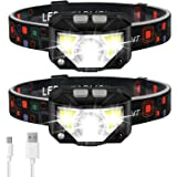 Headlamp Flashlight, LHKNL 1100 Lumen Ultra-Light Bright LED Rechargeable Headlight with White Red Light, 2-PACK Waterproof M