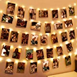 Hatstart 100 LEDs Photo Clips String Lights,33Ft Wall Fairy Lights with 60 Clear Clips,Battery Powered Twinkle Warm White Lig