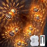 Rose Gold Moroccan Globe String Lights,Battery Operated (9.84 feet/ 20 LED), Water-Resistant Ball Lantern Light - Bedroom,Wed