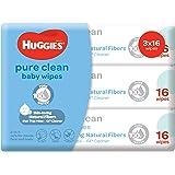 Huggies Pure Clean Baby Wipes, 16ct (Pack of 3)