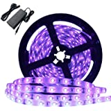 Better Bright 60 Watts UV Black Light LED Strip, 16.4FT/5M 3528 300LEDs 395nm-405nm Waterproof IP65 Blacklight Night Fishing
