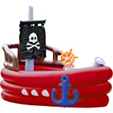 Teamson Kids - Water Fun Pirate Boat Inflatable Sprinkler Play Center with Pump - Red, one size
