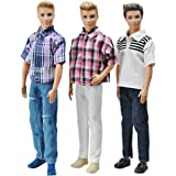 "E-TING 3 Sets Casual Wear Plaid Doll Clothes Jacket Pants Outfits for 12"" Boy Dolls"