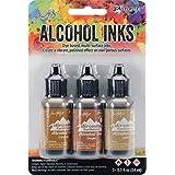 Tim Holtz Alcohol Ink .5oz 3/Pkg-Cabin Cupboard-Caramel/Ginger/Latte