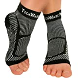 TechWare Pro Ankle Brace Compression Sleeve - Relieves Achilles Tendonitis, Joint Pain. Plantar Fasciitis Foot Sock with Arch