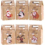 VEYLIN 24Pcs Christmas Paper Gift Boxes with Handle, Christmas Element Bags for Candy (6 Different Style)
