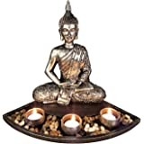 Sitting Buddha Zen Aroma Candle Holder, Southeast Asian Style Buddha Statue Craft Decoration for Living Room Temple Decoratio