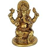 Brass Lord Ganesha Carved Idol (11 cm x 9 cm x 6.5 cm, Golden)