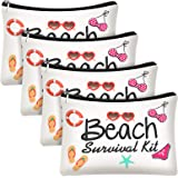4 Pieces Beach Survival Kit Cosmetic Bag Funny Beach Makeup Bag Beach Accessories Travel Organizer Bag Cotton Pouch Case for