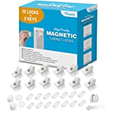 Baby Proofing Magnetic Cabinet Locks Child Safety - VMAISI 12 Pack Children Proof Cupboard Baby Locks Latches with 3M Adhesiv