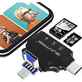 4in1 メモリカードリーダー SDカードリーダー USBマルチカードリーダー IOS/Type-C /USB全対応 SD/TF読取 充電ポート カメラ用 高速データ転送 写真/動画/音楽 OTG 多機能 (ブラック) (黒)