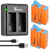 Vemico GoPro Hero 9 バッテリー 充電器セット 2*1800mAh ゴープロ予備バッテリー チャージャーType C Mrico USB 充電器 対応種類 (Gopro Hero9 Black カメラに完全対応)