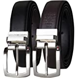 Tommy Hilfiger Belt Gift Set - Leather Belts for Men 2 Adjustable Buckles and Reversible