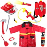 Liberty Imports Kids 10 Piece Fireman Gear Firefighter Costume Role Play Dress Up Toy Set with Helmet and Accessories (Deluxe